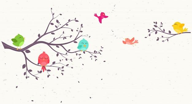 Bunte vögel auf schönen bäumen Premium Vektoren
