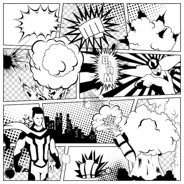 Bunte vorlage der comic-seite mit verschiedenen sprechblasen, strahlen, sterne, punkte, halbton. superheld und stadt silhouette Premium Vektoren