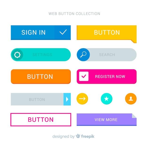 Bunte webdesignknopfsammlung mit flachem design Kostenlosen Vektoren