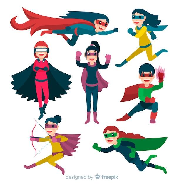 Bunte weibliche superhelden-sammlung mit flachem design Kostenlosen Vektoren