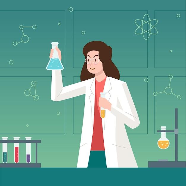 Bunte weibliche wissenschaftlerillustration Kostenlosen Vektoren