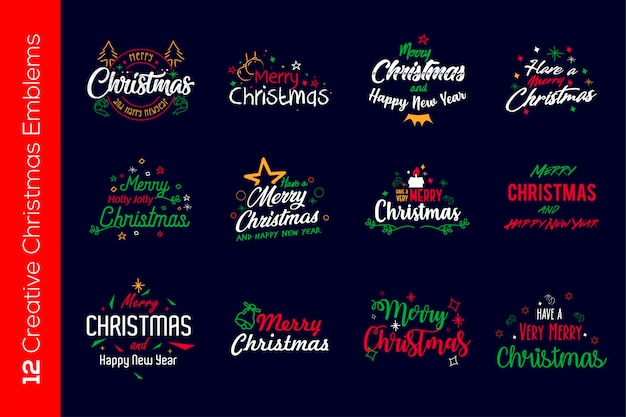 Bunte weihnachtsembleme Premium Vektoren