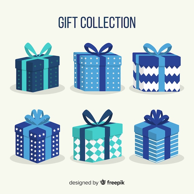 Bunte weihnachtsgeschenkboxsammlung im flachen design Kostenlosen Vektoren