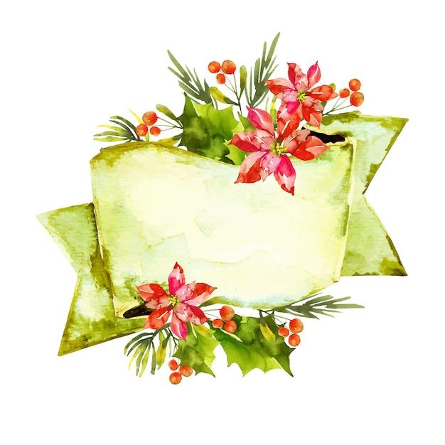 Bunte winterblumen mit leerer fahne Kostenlosen Vektoren