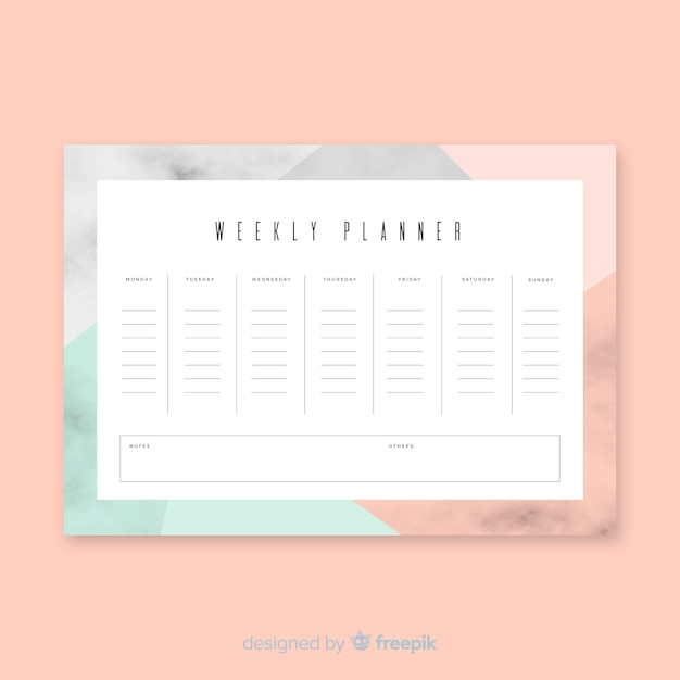 Bunte wöchentliche zeitplanschablone mit flachem design Kostenlosen Vektoren