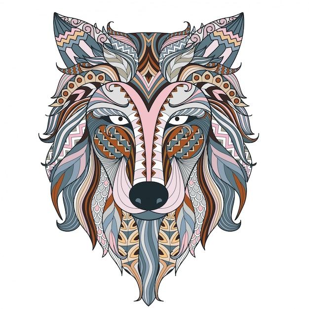Bunte wolf ethnischen kopf Premium Vektoren