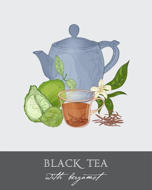 Bunte zeichnung der blauen teekanne, der tasse, der teeblätter, der blumen, der ganzen und halben geschnittenen grünen bergamottefrucht Premium Vektoren