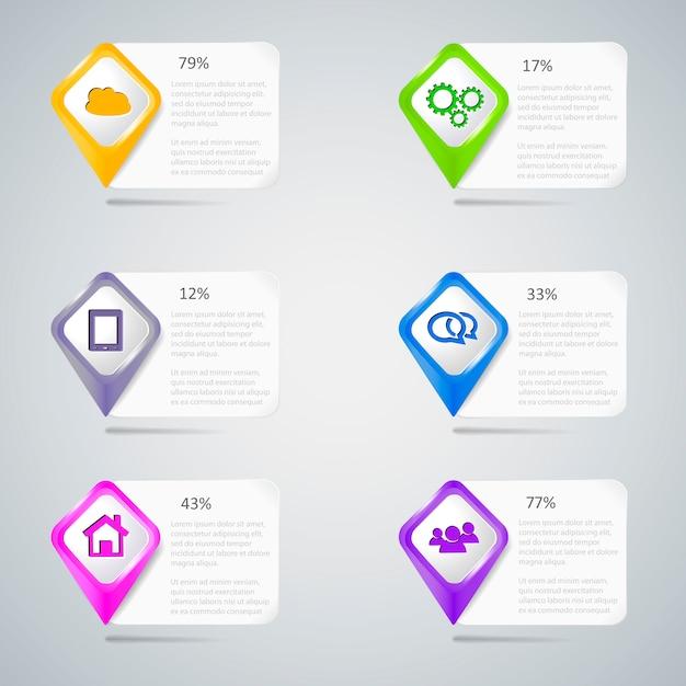 Bunte zeiger mit infographic elementen Premium Vektoren