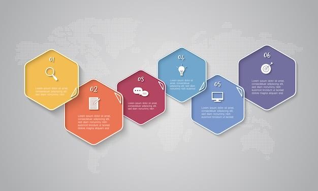 Bunte zeitachse infographic mit textboxen auf weltkartehintergrund für geschäft, beginnen oben oder technologie Premium Vektoren