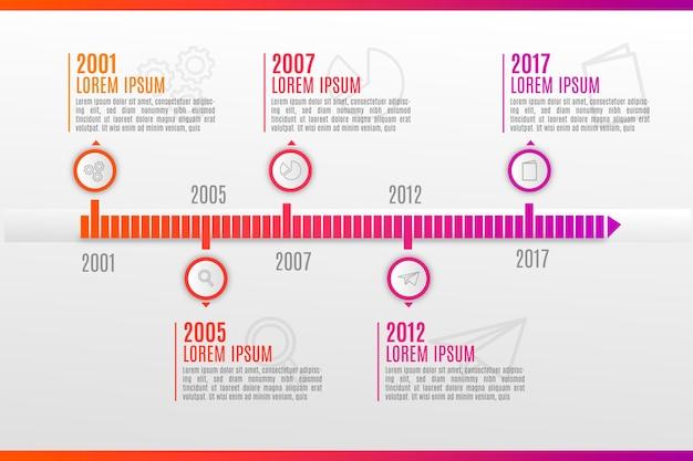 Bunte zeitleiste infografik Kostenlosen Vektoren