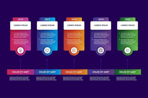 Bunte zeitleiste mit farbverlauf infografik Kostenlosen Vektoren