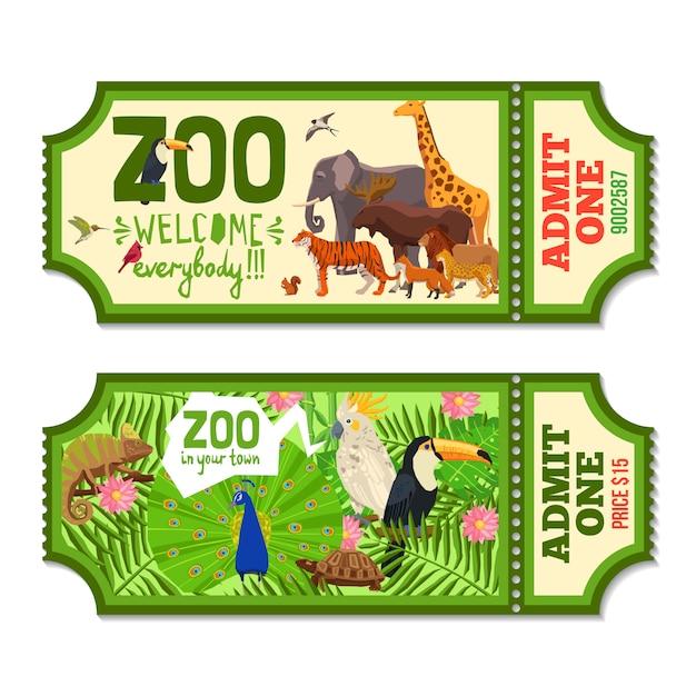 Bunte zoo-tickets mit tropischem hintergrund Kostenlosen Vektoren