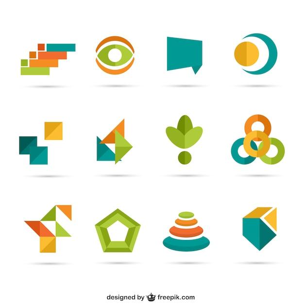 Bunten geometrischen logos Kostenlosen Vektoren
