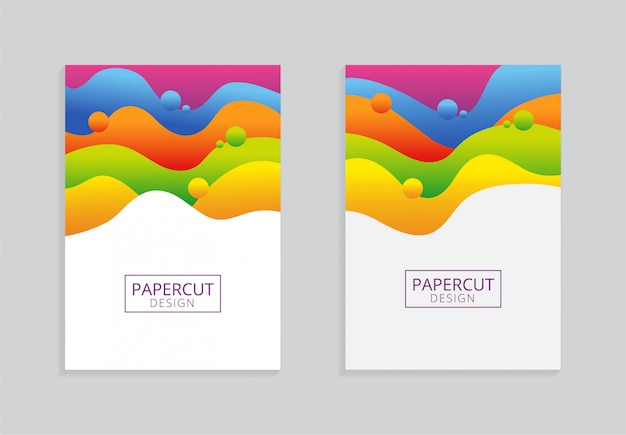 Bunter a4 papierhintergrundentwurf mit papercut art Premium Vektoren