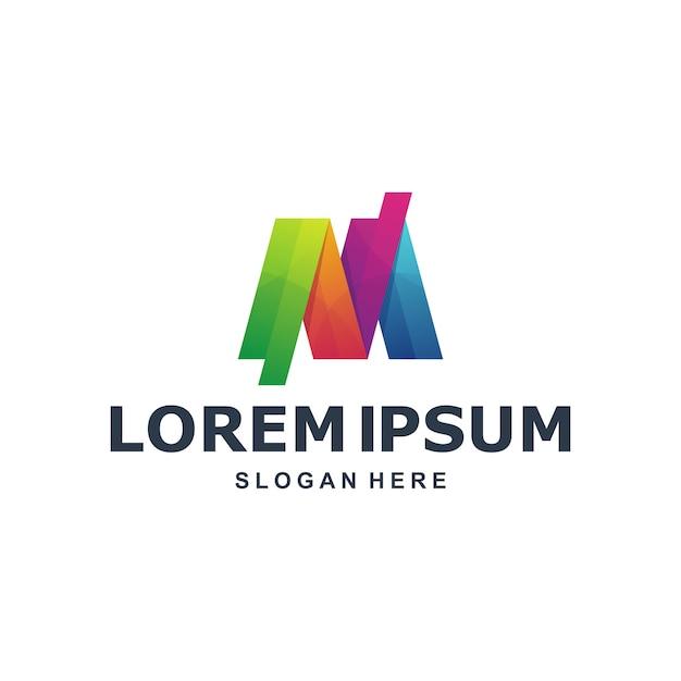 Bunter abstrakter buchstabe m logo template Premium Vektoren