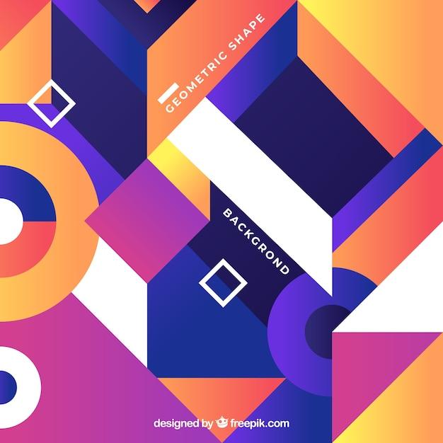 Bunter abstrakter hintergrund mit geometrischen formen Kostenlosen Vektoren