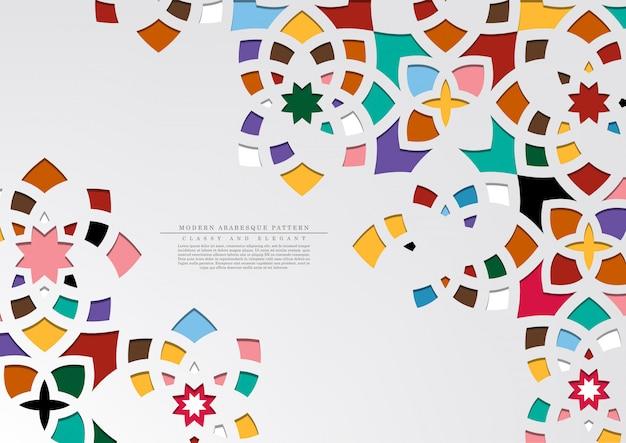 Bunter beschaffenheitshintergrundvektor des modernen arabeskenmusters bunter Premium Vektoren