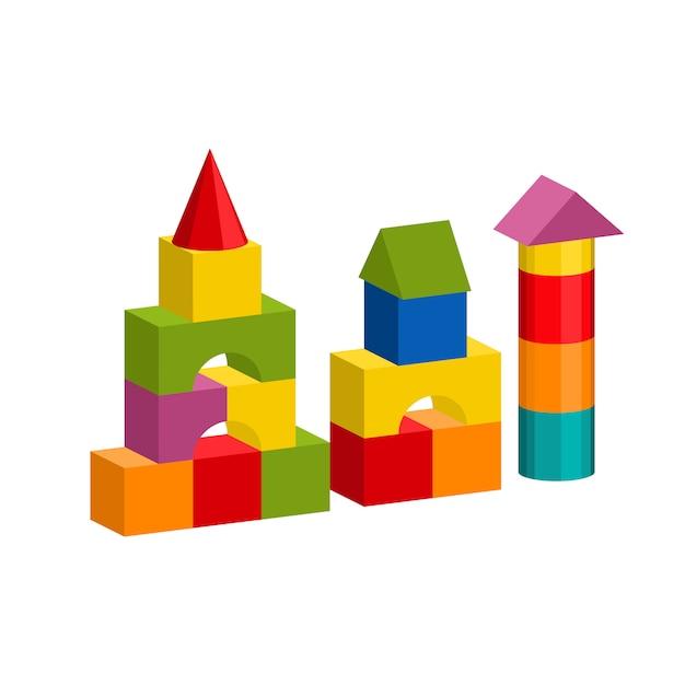 Bunter blockspielzeug-gebäudeturm, schloss, haus Premium Vektoren