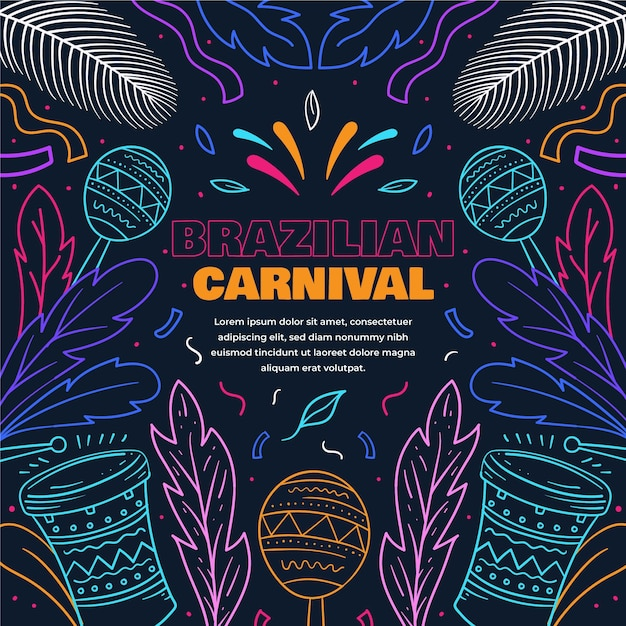 Bunter brasilianischer karneval des flachen entwurfs Kostenlosen Vektoren