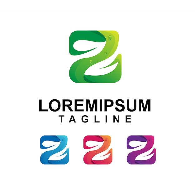 Bunter buchstabe z mit blatt logo design Premium Vektoren