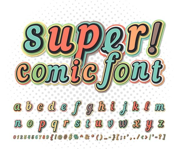 Bunter comic-schrifttyp auf comic-buchseite. kinderalphabet im pop-art-stil. mehrschichtige lustige buchstaben und zahlen Premium Vektoren