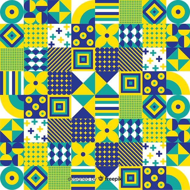 Bunter dekorativer geometrischer mosaikhintergrund Kostenlosen Vektoren