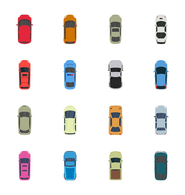 Bunter draufsicht-autovektor Premium Vektoren