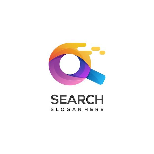 Bunter farbverlauf der logo-illustrationssuchglas Premium Vektoren