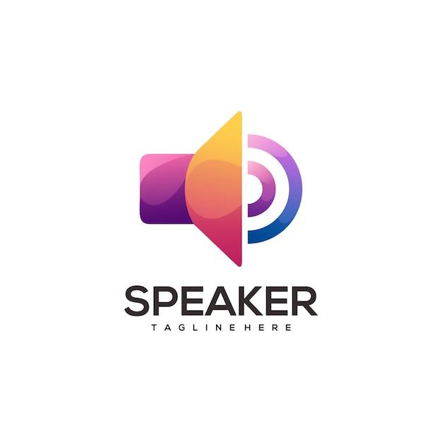 Bunter farbverlauf des fantastischen logo-lautsprechers Premium Vektoren