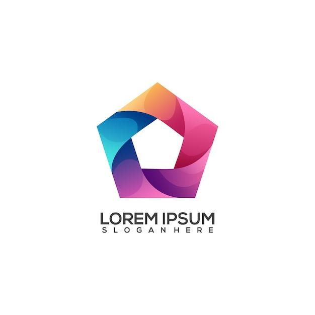 Bunter farbverlauf des fantastischen polygonlogos Premium Vektoren