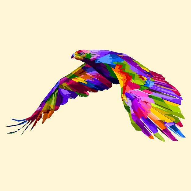 Bunter Fliegender Adler Premium Vektor