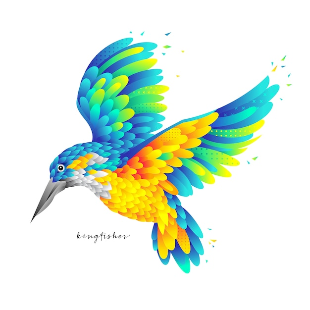 Bunter fliegender eisvogel Premium Vektoren