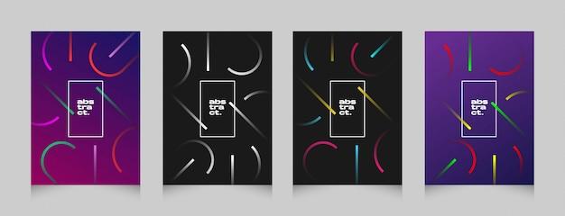 Bunter fliegerfahnen-plakatsatz der futuristischen abstrakten form Premium Vektoren