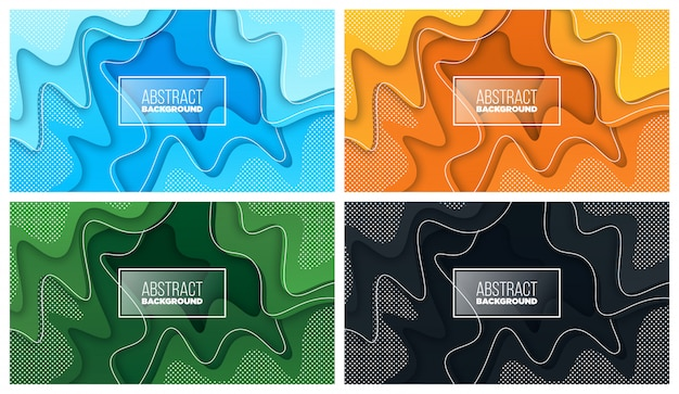 Bunter flüssiger und geometrischer hintergrund mit fließenden gradientenformen Premium Vektoren