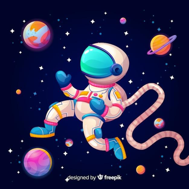 Bunter galaxiehintergrund mit astronauten Kostenlosen Vektoren