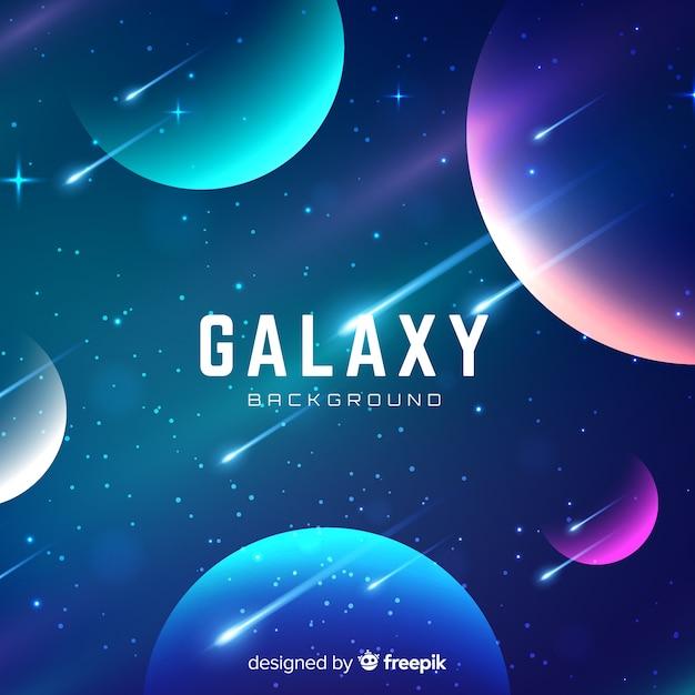Bunter galaxiehintergrund mit realistischem design Kostenlosen Vektoren
