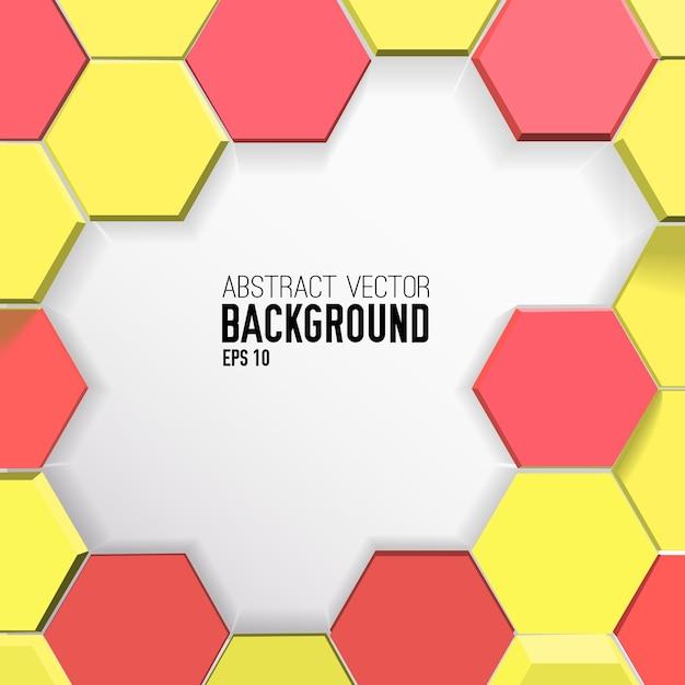 Bunter geometrischer hintergrund mit gelben und roten sechsecken Kostenlosen Vektoren