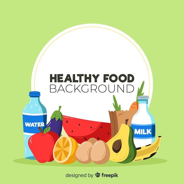 Bunter gesunder nahrungsmittelhintergrund Kostenlosen Vektoren