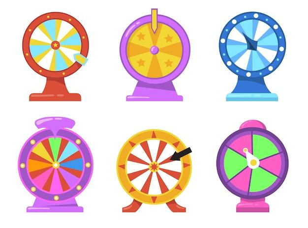 Bunter glücksrad-flachgegenstandssatz. cartoon glücksspiel roulette mit pfeilen für internet casino isolierte vektor-illustration sammlung. lotterie und preisgekröntes konzept Kostenlosen Vektoren