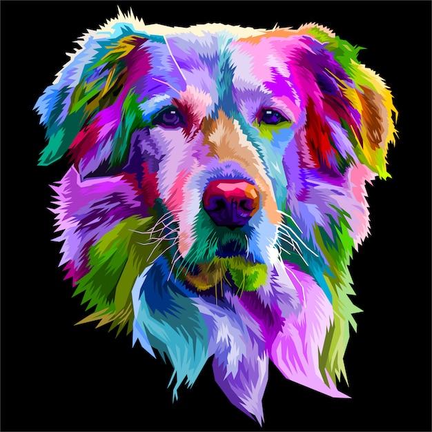 Bunter golden retriever hund auf pop-art-stil. Premium Vektoren