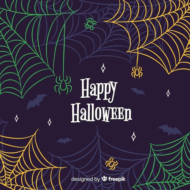 Bunter halloween-spinnennetzhintergrund Kostenlosen Vektoren