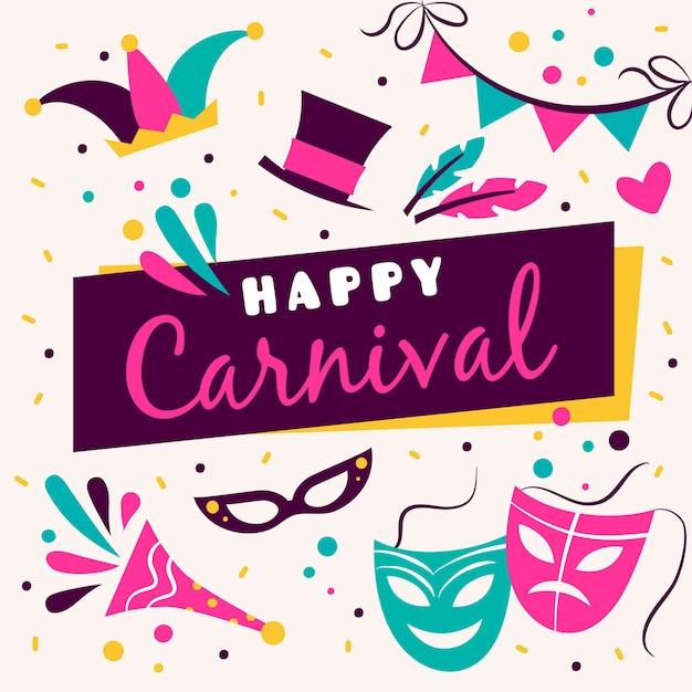 Bunter hand gezeichneter karneval Kostenlosen Vektoren