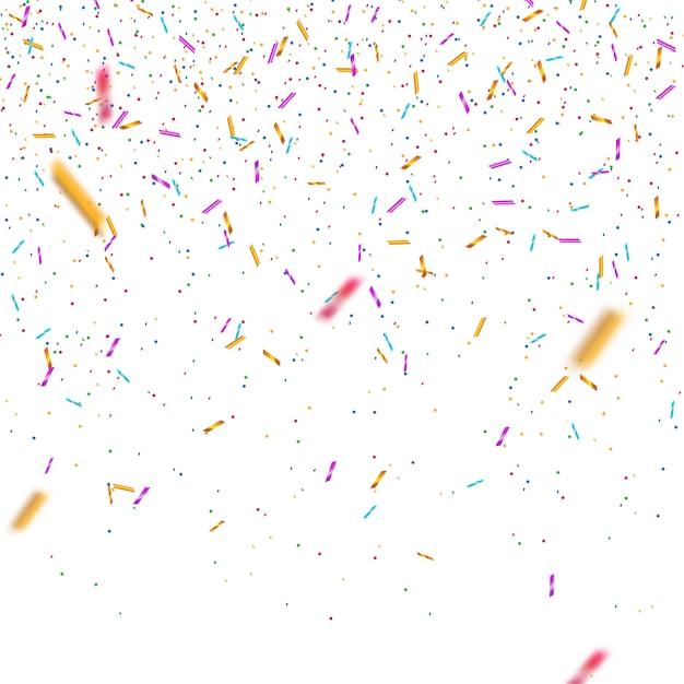Bunter heller confetti lokalisiert. festliche vektor-illustration Premium Vektoren