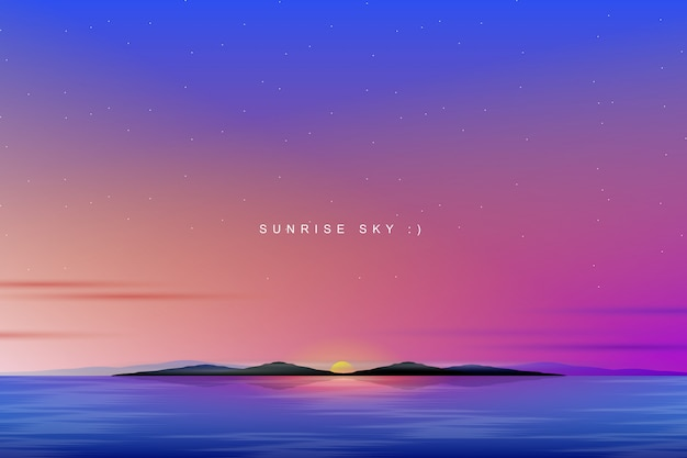 Bunter himmelhintergrund mit sonnenaufgang- und seelandschaft Premium Vektoren