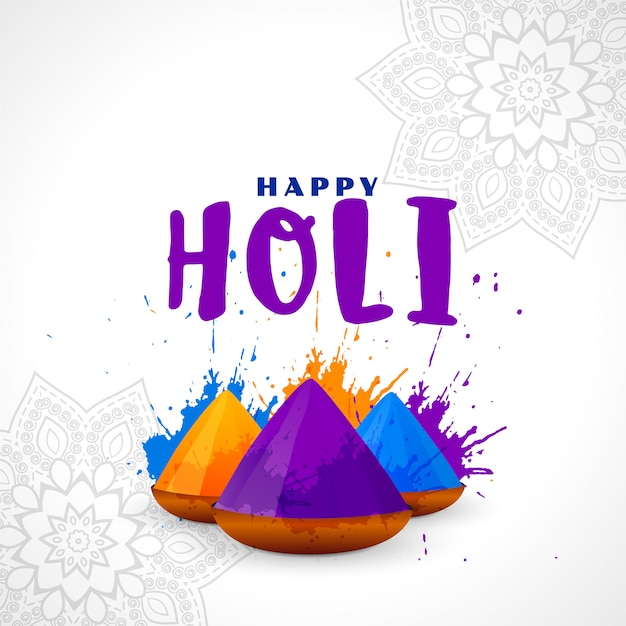 Bunter hintergrund der glücklichen holi-festivalkarte Kostenlosen Vektoren