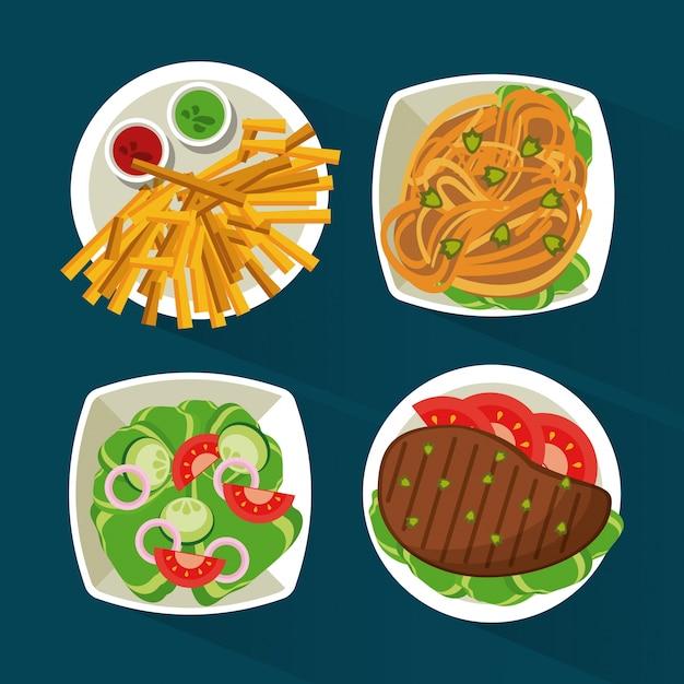 Bunter hintergrund mit fleisch und teigwaren und salat und fischrogen Premium Vektoren