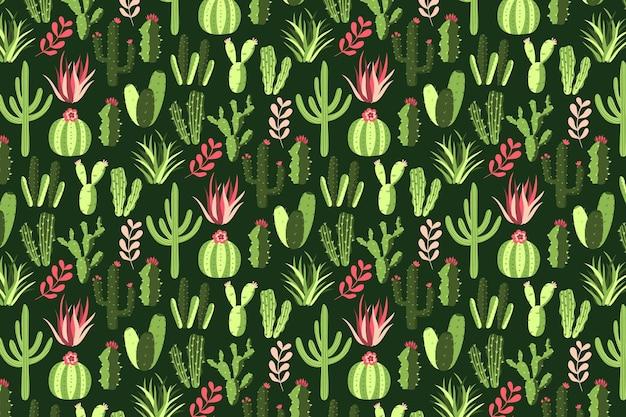 Bunter kaktusmusterhintergrund Premium Vektoren