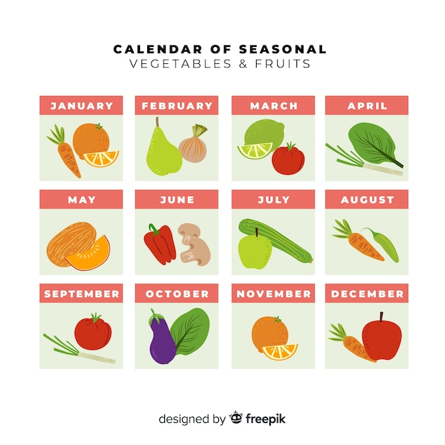 Bunter kalender von gemüse und früchten der saison Kostenlosen Vektoren
