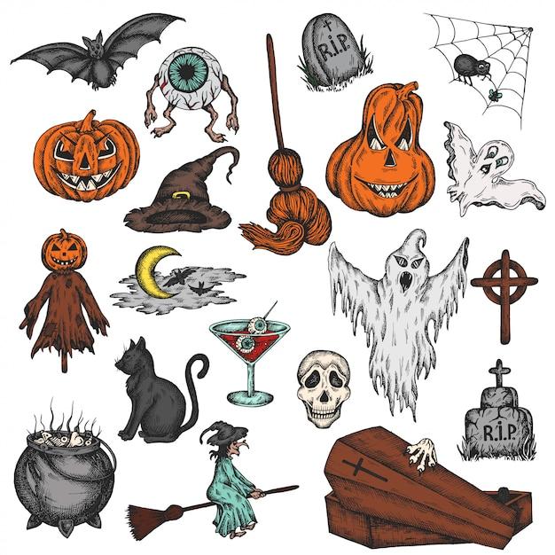 Bunter karikaturhorrorsatz halloween-feiertags Premium Vektoren