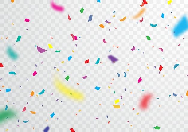 Bunter konfettihintergrund für festliche feiern Premium Vektoren